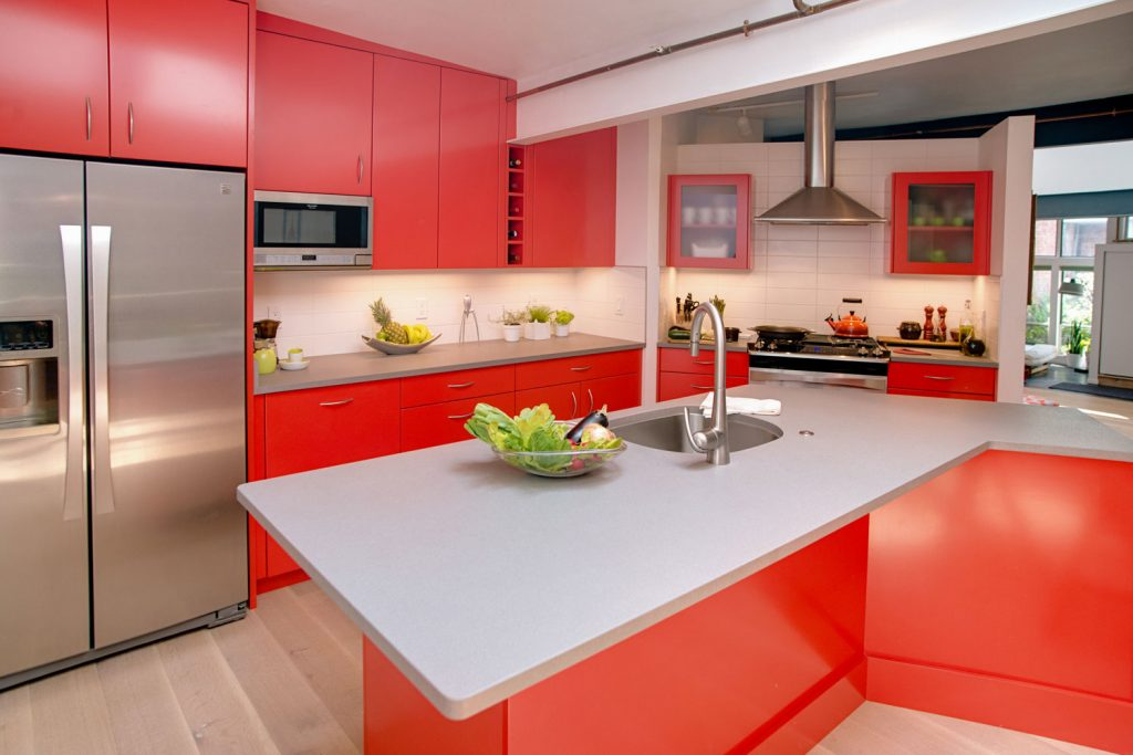 Image result for kitchen remodel with bright cabinets